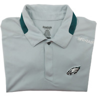 Reebok Philadelphia Eagles Men's Large Gray Green Performance Golf Polo NFL
