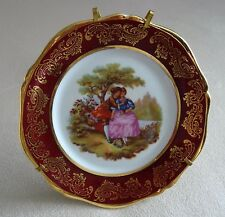 """LIMOGES FRANCE PLATE W STAND ROMANTIC COUPLE SCENE RED BORDER GOLD 4 ¾"""" MINT"""