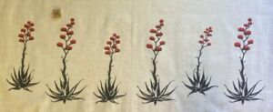 Vintage MCM Red Agave on White Kettle Cloth Leona Caldwell Hand Screened Cactus