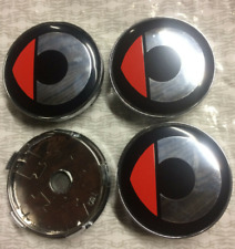 4x60mm SMART Red Black Wheel Center Caps Logo Emblem Badge Hub Caps Rim Caps