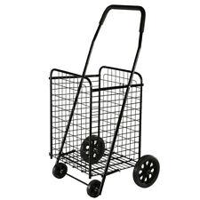 Utility Shopping Cart Foldable Jumbo Basket Outdoor Grocery Laundry Wheels Cs