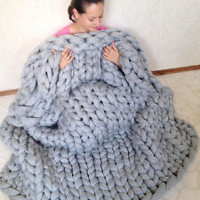 Bulky Knitted Merino Wool Blanket Chunky Crochet Knit Thick Yarn Warm Throws