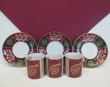 3 Demitasse Cups and Saucers from Neiman Marcus, Signed