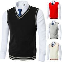 Mens Thick Knitted Vest Striated V-Neck Tank Top Golf Sleeveless Jumper Sweater