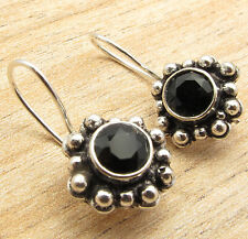 Give The Gift !!! ART Earrings !! 925 Silver Plated Real BLACK ONYX Gem Jewelry