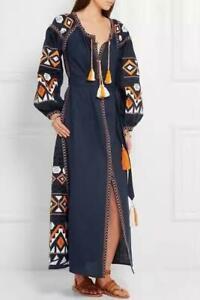 FREE SIZE Ladies Embroidered Boho Maxi Dress Folk Ethnic Style Split Dresses