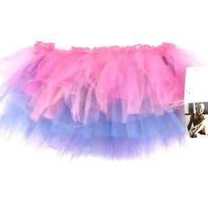 Danskin Freestyle Girls Pink Blue Tulle Elastic Waist Tutu Skirt Size 4-6X NEW