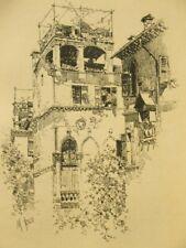 Martin Rico signed original gravure print; House in Venice 1900's