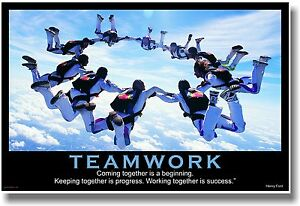 NEW Motivational TEAMWORK POSTER - Henry Ford Quote - Sports Sky Diving Team