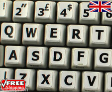 English UK LARGE LETTER White Keyboard Stickers & Black Letters Laptop Computer