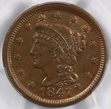 1847 1c N-3 Braided Hair Large Cent PCGS MS 64