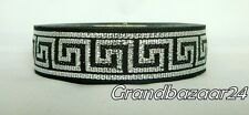 25 meters Jacquard Ribbon Trim *25mm width Greek Key*Black/Silver*