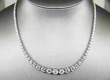 Round Cut Diamond Graduated Rivera Tennis Necklace 18K White Gold 11.00Ct