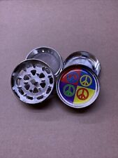 herbal grinder 2 Chamber With Peace Symbols Metal