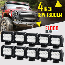 "10X 4""INCH 18W Flood Beam CREE LED Work Light Bar Offroad Truck Spot Fog 3/7/9"""