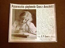 Pubblicità d'Epoca per Collezionisti Obbiettivo fotografico Goerz Anschutz Bimba