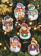 Cross Stitch Kit ~ Janlynn Set of 6 Snow Folks Snowman Xmas Ornaments #023-0342