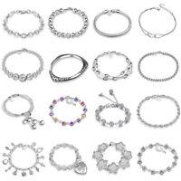 Fashion Women 925 Silver Plated Beads Charm Pendant Bangle Chain Bracelet Gift