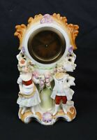 Antique 19th Century French Porcelain Victorian Hand Painted Mantle Clock Works