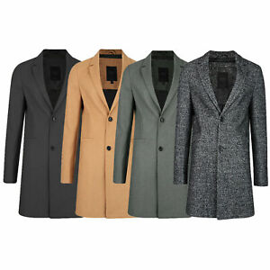 Mens Winter Autumn Formal New Smart Thick Crombie Wool Blend Long Line Coat