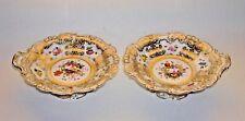 Antique Pair Chamberlain English Porcelain Low Dessert Compotes Hand Ptd Flowers