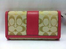 Nwt Coach Park Signature Checkbook Wallet Light Khaki/Strawberry F51767 $238