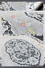 "Vinyl Lace Placemats Six Plastic White Floral 6 Oval 18""x12"" Set Christmas Gift"