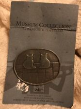 M.A.D. Cats Brooch Danforth Pewterers Pewter Museum Folk Art Hooked Rug VT Cat