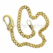 "Vintage Gold Tone Link Pocket Watch Chain 14"" Fob Heavy Clasp Men Accessory FC12"