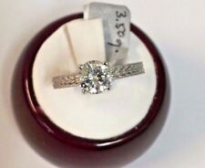 14K White Gold Solitaire Vintage Style Cubic Zirconia Engagement Ring, 6.5mm/1ct