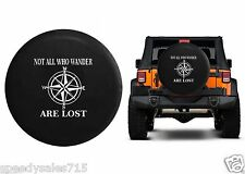 "Not All Who Wander Are Lost Compass Star Spare Tire Cover Vinyl Black 32-33"" New"