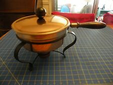 Vintage Copper Chafing Dish Double Boiler Wood Handle 5 pcs. Wick & Lick recipes