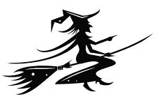WITCH FLYING ON A BROOM DECAL STICKER