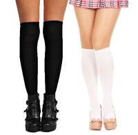 Ladies Long Cotton Stocking School girl Preppy Thigh Knee-High Socks Black White