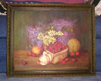 VINTAGE STRAWBERRIES CANTALOUPE LILACS DAISY ORANGES FRUIT FLORAL OIL PAINTING