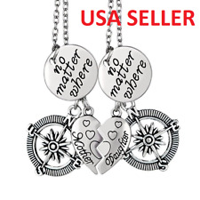2 Pc Mother Daughter No Matter Where Hearts Compass Pendant Necklaces Chains Set