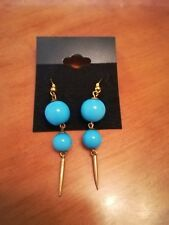 Vintage drop earrings  turquoise beads