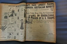 WW2 NEWSPAPER January 6 1943 Hill On Guadalcanal Seized By US Troops BNP CF