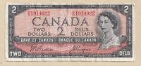 1954 $2 Bank of Canada Note Beattie Coyne P/B 1914022 - Fine