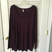 Brand New Mudd Long Sleeve Flat Knit Wine Tunic Sweater, Size 2X