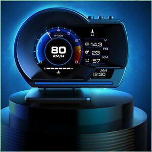 HUD OBD2+GPS Gauge Head Up Car Digital Display Speedometer Turbo RPM Alarm Temp