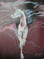 abstract white horse oil painting canvas modern original contemporary art brown
