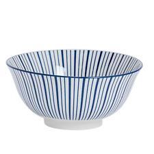 Patterned Cereal Bowl Porcelain Breakfast Bowls Stripe White Blue Kitchen x1