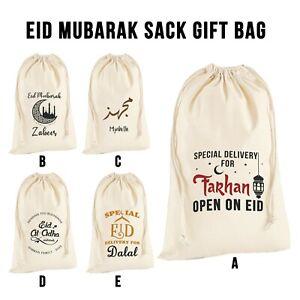 Personalised Eid Ramadan Eid al-Adha Sack Bag Islamic Treat Stocking Gift Bag