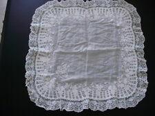 Mouchoir ancien de mariée, mariage, XIXème ( nappe ancienne, drap, dentelle )