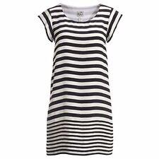 1971 Reiss Josephine Women's 6 Black White Striped Silk Cap Sleeve Mini Dress