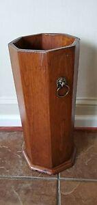 Vintage  Solid Wood Umbrella Stand ~ Brass Lion Decorative Handles