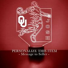 Oklahoma Sooners Basketball LED Night Light Lamp FREE 16 Colors with Remote