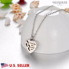 I Carried You Foot Print Heart Cremation Jewelry Keepsake Memorial Urn Necklace