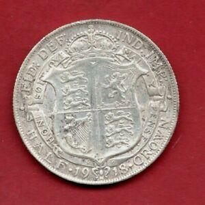 1918 KING GEORGE V, HALF CROWN STERLING SILVER COIN. HALFCROWN. 2/6.